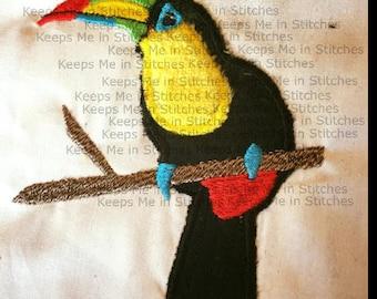 Toucan Tropical Applique embroidery design