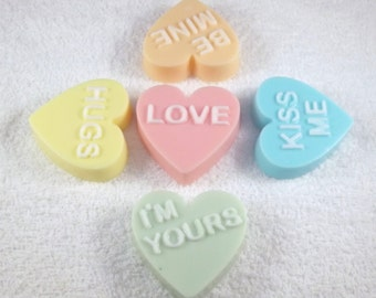 Valentine Hearts, Heart Soap Favor, Heart Soap Set, Conversation Hearts, Soap with a Message, Valentine Gift, Heart Gift, Heart Favor