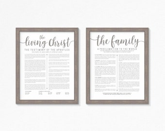 LDS The Living Christ and Family Proclamation Printable-Grey Text-Choose your Sizes-Digital Files-LDS printable posters-LDS