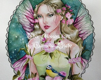Cherry blossom fairy yellow tit watercolour painting