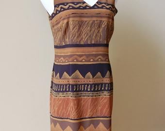 1990s Brown Tribal Dress