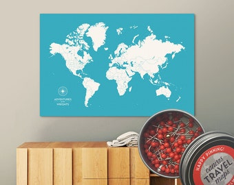 Push Pin Map (Aqua) Push Pin World Map Pin Board World Travel Map on Canvas Push Pin Travel Map Personalized Wedding/Anniversary Gift