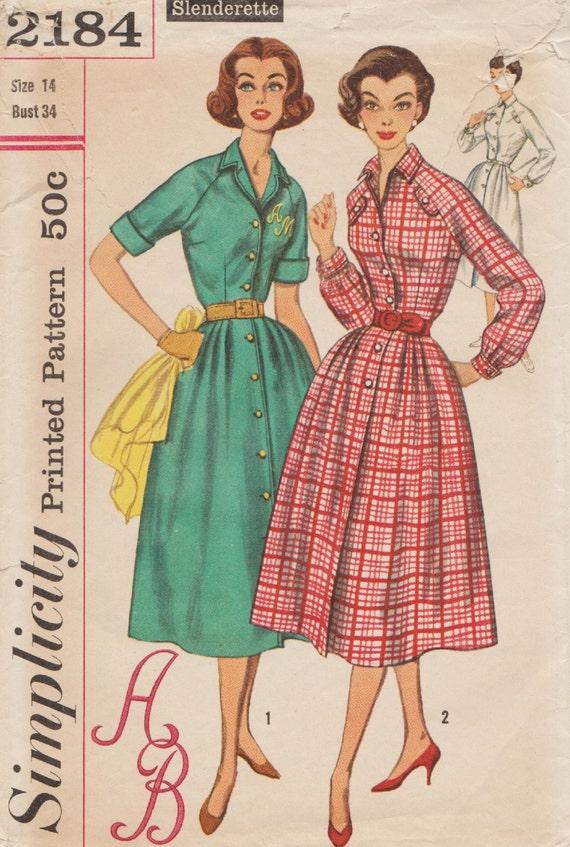 Einfachheit 2184 / Vintage 50er Jahre Schnittmuster mit