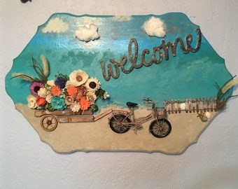 Sola Wood Flower cart beach Welcome Plaque