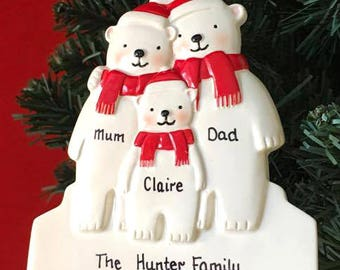 Personalised Christmas Tree Decoration - Polar Bear Family of 3, 4, or 5