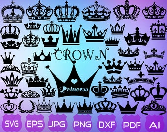 60 Crowns SVG | Crown Clipart | Crown Vector | Princess Crown SVG | King  Crown SVG | Cricut | Crown Silhouette | Silhouette Cameo |