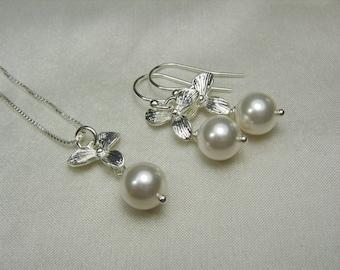 Pearl Bridesmaid Jewelry Set Pearl Bridal Jewelry Set Orchid Pearl Bridesmaid Necklace Earrings Wedding Jewelry Set Bridesmaid Gift Set