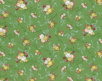 Old is new green floral 1930's reproduction fabric.