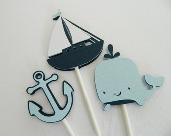 12 Light Blue Nautical Cupcake Toppers Sailboat Cupcake Toppers Nautical Baby Shower Nautical Birthday Party • Set of 12