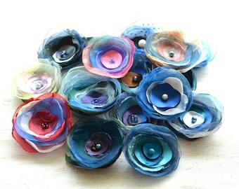 Fabric flower appliques, silk floral embellishments, DIY bridal flower bouquet supplies (17 pcs)- Flowers in Shades of Blue ( mix set 309)