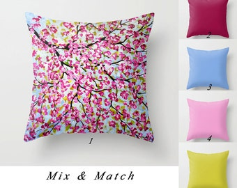 Throw Pillow Cover, Pink Blue Apple Green, Floral Pillows, Cherry Blossom Pillow Solid Color Art Pillows Decorative Pillow Designer Cushions