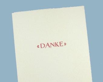 """Dankeskarte """"DANKE"""" / Hochzeit, Taufe, Kommunion, Konfirmation, Geburt/ Letterpress / rot, blau, grün, türkis, gold/ edel, schlicht, vintage"""