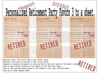 Custom Retirement Card Printable Library Book Check 3 Personalized Stamped Announcement Retiree Name Company Start End Date Party Favor Gift