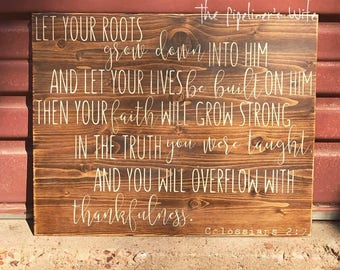 Colossians 2:7 Thankfulness Sign