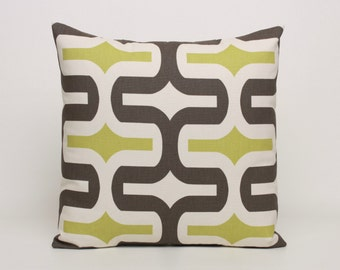 Chartreuse Green  Brown  Natural Throw Pillow Cover, 16, 18, or 20 inch Cover in Premier Prints Mantis Embrace pattern, Home Decor Cotton