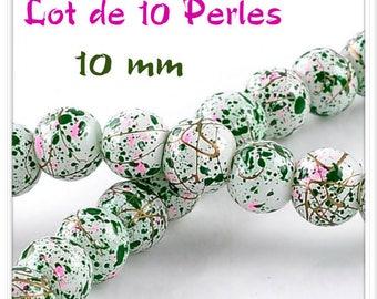 Set of 10 beads 10 mm bright splatter graffiti effect