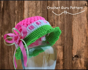 Crochet Cloche Hat Pattern - Crochet Pattern - Crochet Hat - 5 Sizes - Baby to Adult - Instant Download - PDF Format