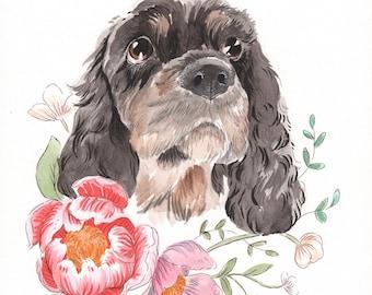 Pet Portrait Watercolor, pet portrait, custom pet portrait, pet memorial, pet loss gift, pet lover gift, custom gift, pet lover gift