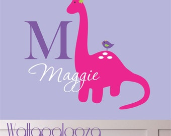 Wall Decal - Girl's Name Wall Decal - Children's Wall Decal - Personalized Name Decal - Girl  Dinosaur Wall Decal - Dino Wall decal