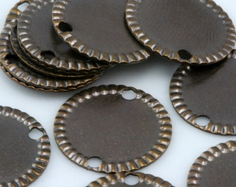 80 Pcs Antique Copper Tone Brass 14 mm Circle tag 2 hole connector Charms ,Findings 912AC-40
