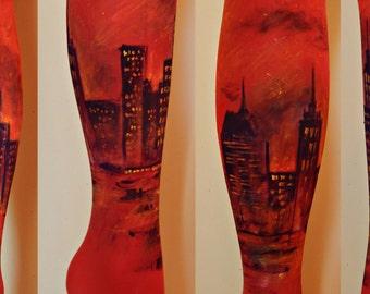 New York City Tights, Painted Leggings, New York Fashion, Sky at night, Sky Leggings, City at night, New York at night, Starry Night