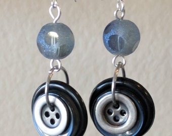 Black, Navy blue, Pewter Dangle Earrings Made from Buttons
