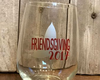 Friendsgiving silver leaf wine glass