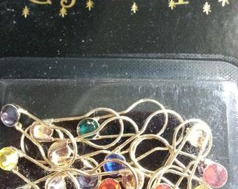 Crystaletts stitch marker pins gold