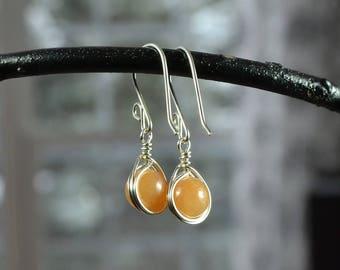 Aventurine Earrings, Wire Wrapped Earrings, Tangerine Gemstone Earrings, Orange Gemstone Earrings