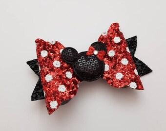 Minnie, Spots, Headband, Fabric, Bow, Glitter, Hair Accessories, Clips, Accessories, Hair, Ribbon, Bows.