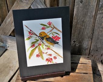 Original hand painted watercolor Gold Finch, Matted artwork, Bird, Yellow bird, Art, Gift, Bird on branch, Yellow bird on branch, Watercolor