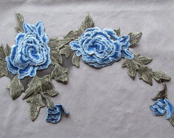 Blue Roses applique - iron on or sew on