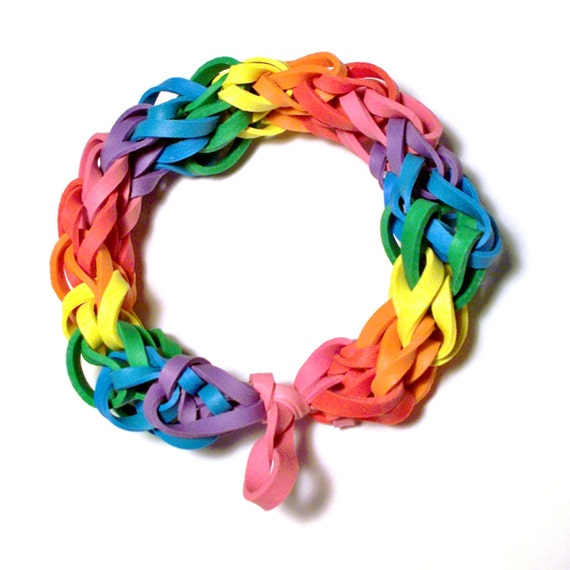 Items Similar To Rainbow Rubber Band Bracelet Multicolor