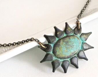 Sunburst Necklace - Patina Necklace, Verdigris Jewelry, Nature Jewelry