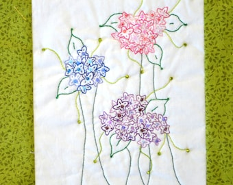 "PDF Stitchery Pattern ""Skylacs"" Whimsical Flower Garden"