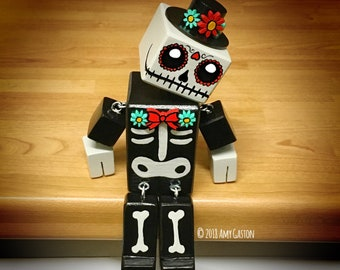 """6.5"""" Day of the Dead Oddbot - The Little Wooden Robot by Tiggymus & Co."""