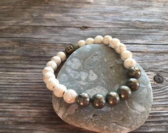 Howlite and Pyrite Bracelet, Yoga Bracelet, Healing Bracelet, Stretch Bracelet, Minimal Bracelet, Boho Bracelet, Silver Bar Bracelet