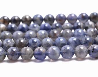 7mm Bermudan Blue Iolite Gemstone Grade A Blue Round 7mm Loose Beads 15.5 inch Full Strand (90146329-163)