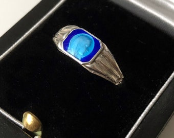 Faith Ring French Silver Blue Enamel Mother Mary Religious Blessed Virgin Ring