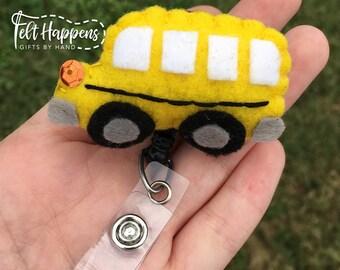 Bus Badge Reel, Felt Transportation, Handmade Felt Pin, ID Felt Badge Holder, Retractable, Gift By Hand