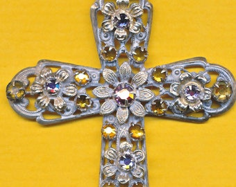 Antique Sterling Silver FILGREE Amethyst and Citrin stones Religious Cross Catholic crosses Croix Crucifix  (ref 1240)