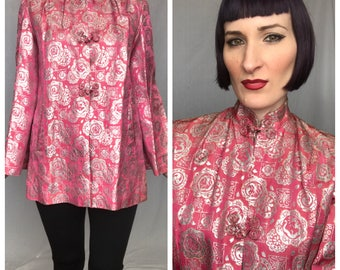 Vintage 1960's Pink and Silver Metallic Lurex Asian Style Structured Jacket - size Medium Large