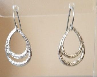 "Silver Plated 1"" Oval Teardrop Dangle Drop Boho Hook Earrings Womens Fashion Jewelry Made in USA"