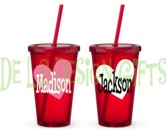 Personalized Valentine's day drinkware, 16 oz standard tumbler in red with heart, name and polka dots
