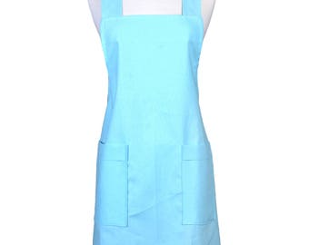Japanese Linen Crossback Apron Aqua Blue Womens Retro Crossover Pinafore Vintage Style Kitchen Apron with Pockets