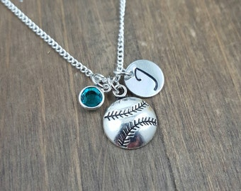 Personalized Baseball Necklace - Hand stamped Monogram Softball Necklace- Initial, Birthstone Necklace- Baseball/Softball team necklace