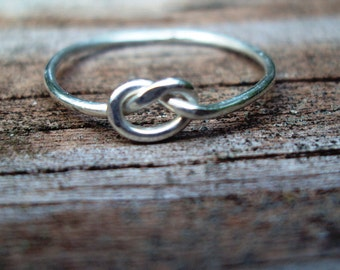 sale, set of 5, Jewelry, ring, love knot, argentium sterling silver, lovers knot ring, 18g