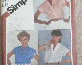 Simplicity 5451 Misses Cap Sleeve Blouse with Shawl Collar and Button Front, Misses Summer Blouse Pattern, Size 12, Cut-Uncut