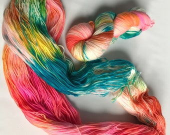 Hand-dyed yarn, Indie dyed yarn, hand dyed yarn KARMA CHAMELEON-- ready to ship -- Staten Island Ferry merino/ nylon sock yarn