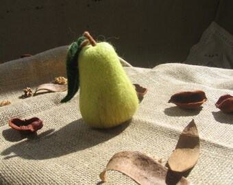 Green Wool Needle Felted Pear, Needle Felt Waldorf Party Favor